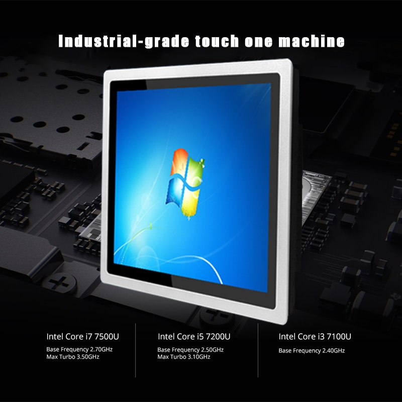 19 inch Embedded capacitive touch industrial computer, 4G RAM 32G SSD core i7 mini pc ,embedded Multifunctional monitoring PC