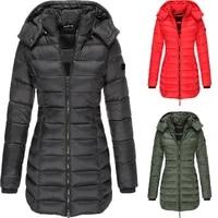 2021 new winter korean womens cotton padded jacket womens mid length slim fitting padded jacket warm down padded jacket