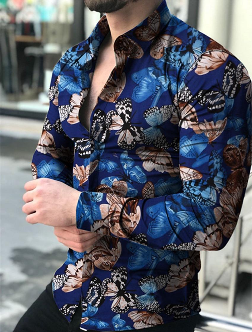 AliExpress - Butterfly print Shirt Men Slim Fit Shirt Long Sleeve Shirt Male Top 2020 Europe Size Cotton Men's Shirt streetwear Male Shirt