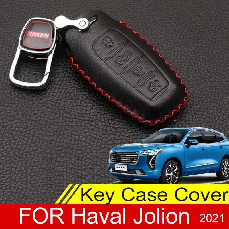 New Design Leather Car Key Cover For Haval Jolin 2021 Superior Quality Protector Keychain Bag Auto Accessories