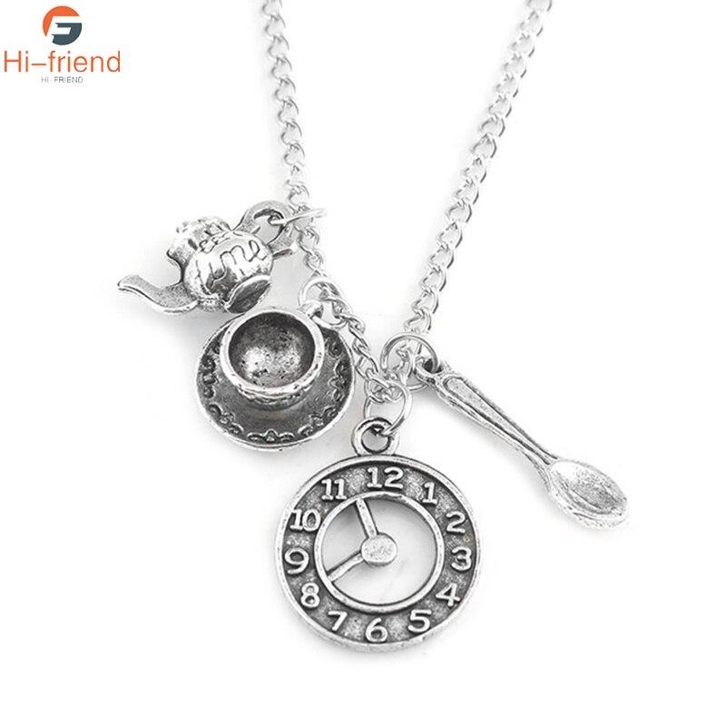 Collar de Alicia en el país de las Maravillas plata antigua taza de café reloj cuchara y tetera accesorios colgante collares mujeres hombres joyería regalo