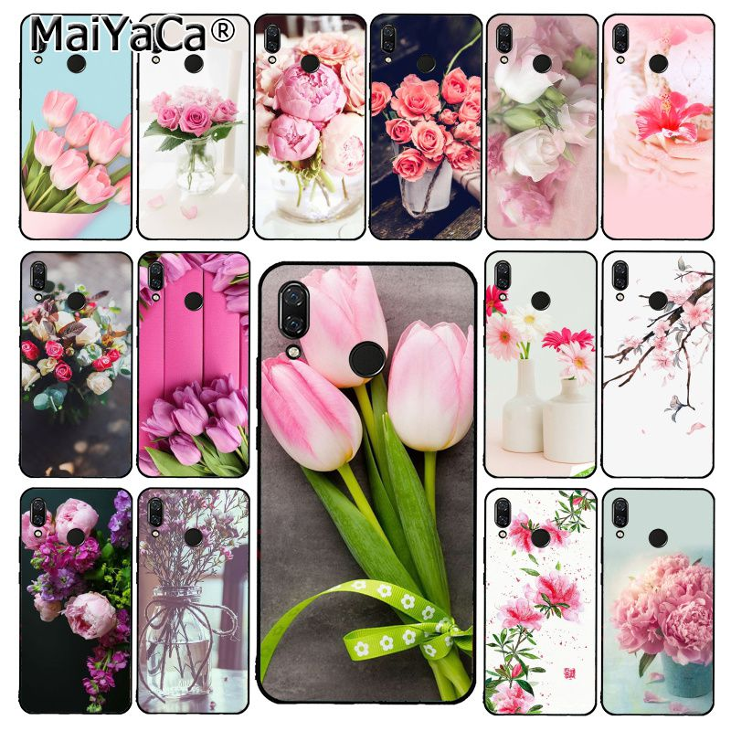 MaiYaCa flor peonía rojo rosado tulipán púrpura funda de teléfono para Xiaomi Redmi8 4X 6A 9 Note8T 5Plus Note5 7 Note8Pro