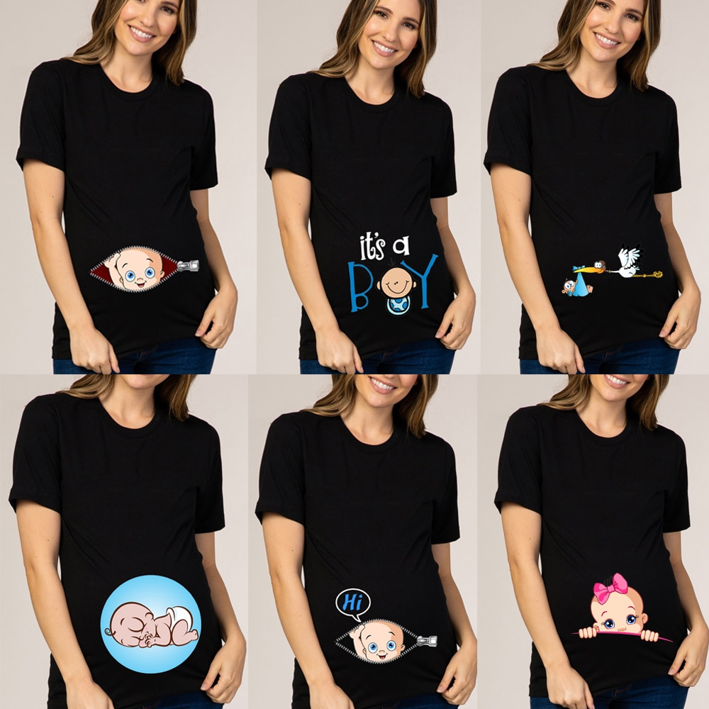 Baby Is Coming Women Maternity Pregnant Clothes Short Sleeve T-shirt Funny Top