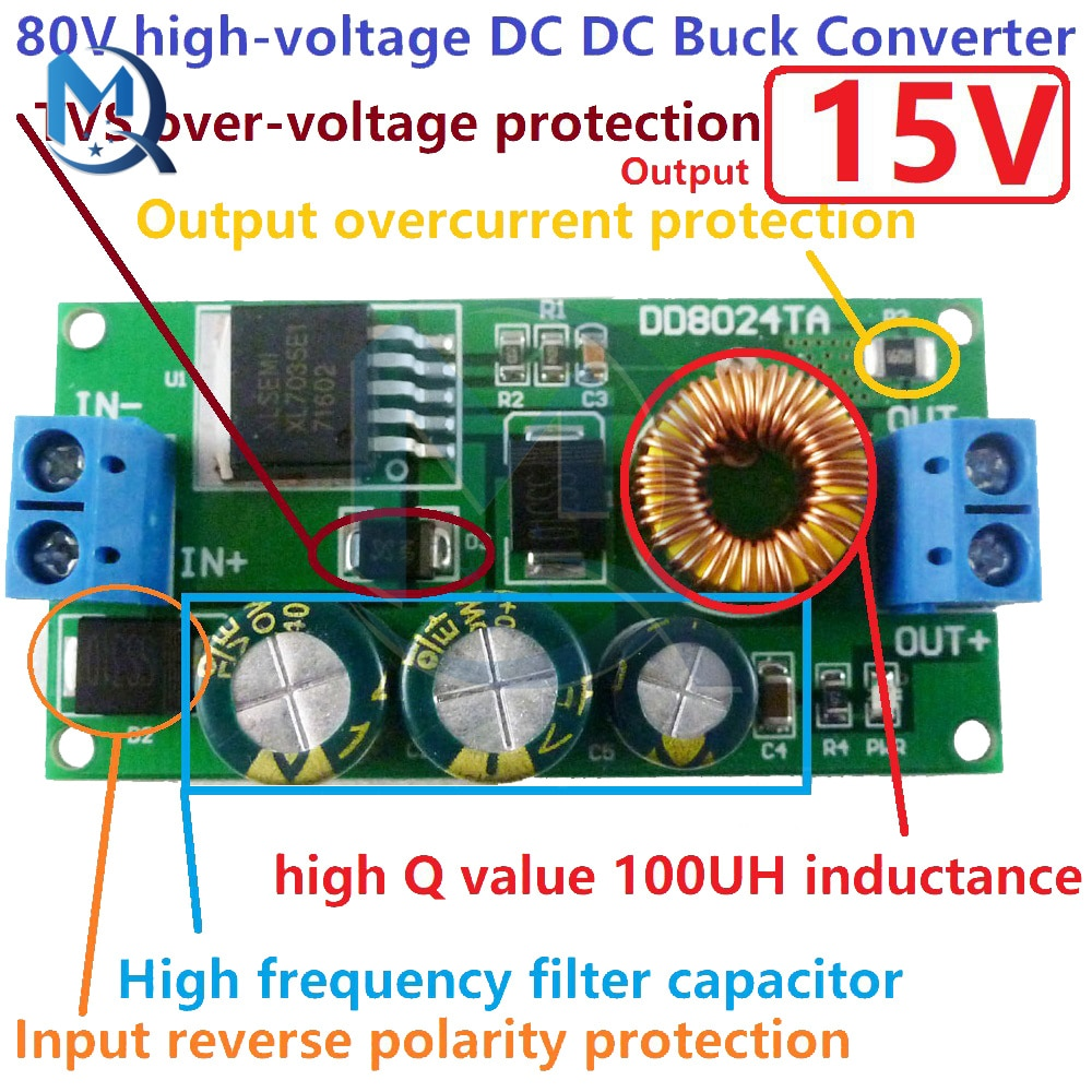 Высоковольтный Регулируемый преобразователь для электровелосипеда, понижающий модуль регулятора, 80 в, 72 в, 64 В, 60 в, 48 В, 36 В, 24 В до 15 В, 12 В, 9 В, ...