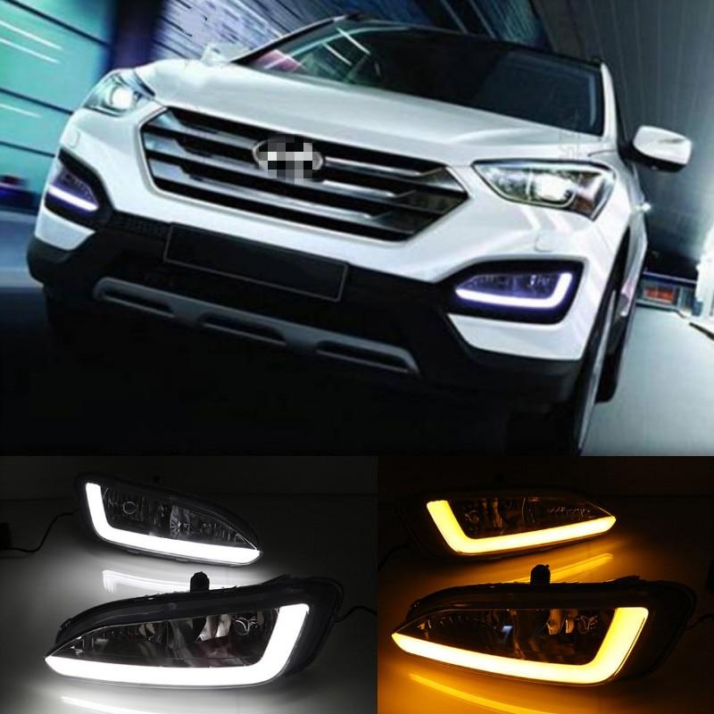 2 uds. DRL para Hyundai Santa Fe IX45 2013 2014 2015, luz de circulación diurna, luz de niebla, relé LED de estilo diurno