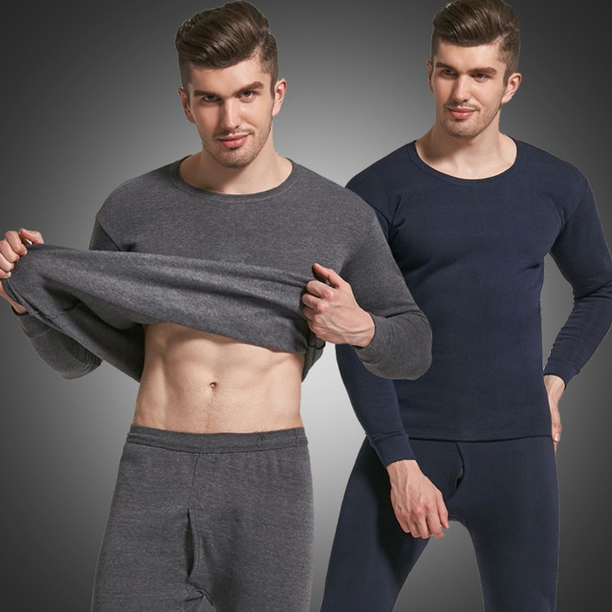 Men's Thermal Underwear Double Layer Plus Velvet Thick Thermal Underwear Large Size 4XL For Russian