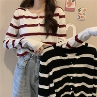 womens sweater korean autumn traf color matching striped round neck top cardigan spring thin cardigan fashion casual sweater
