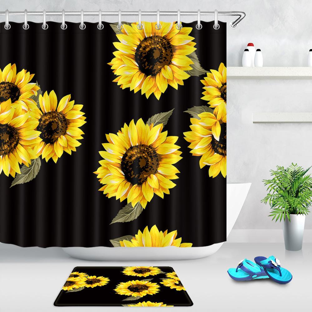 Cortina de ducha de girasol, flores amarillas, fondo negro, planta de primavera, Arte Creativo Floral, tela impermeable, conjunto de cortina de baño