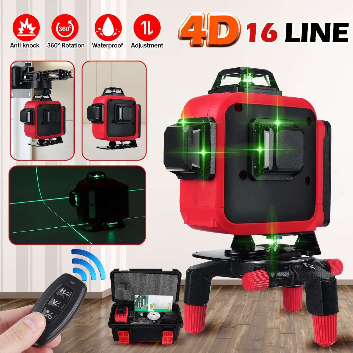 16/12 Lines 4D Laser Level green line SelfLeveling 360 Horizontal And Vertical...