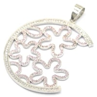 52x42mm delicate created fine cut pink kunzite cz womans wedding sterling silver pendant
