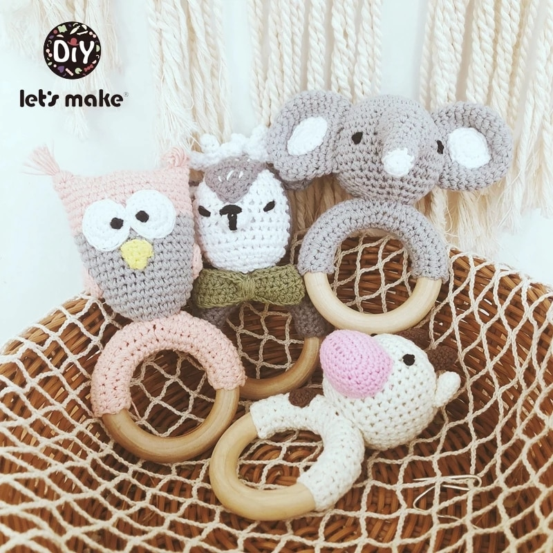 Newborn Baby Toys 1pc Wooden Teether Crochet Pattern Rattle Elephant Rattle Toy Newborn Amigurumi Teether Baby  Rattles Gift baby toys 1set crochet amigurumi elephant owl rattle bell custom newborn pacifier clip montessori toy educational baby rattle