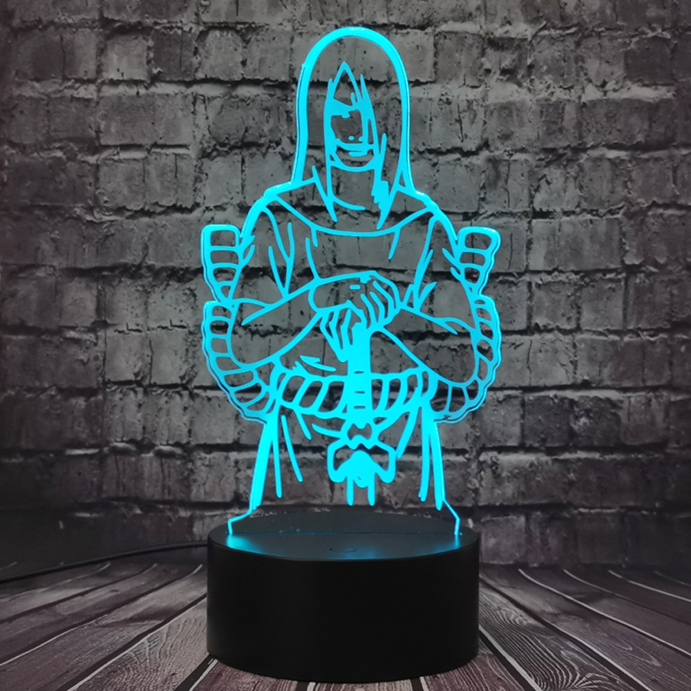 Lámpara Orochimaru 3D Optical 7 cambio de Color dibujos animados de Naruto luz LED de noche Hyūga Neji para habitación de niño Regalo de Cumpleaños de vacaciones para adolescentes
