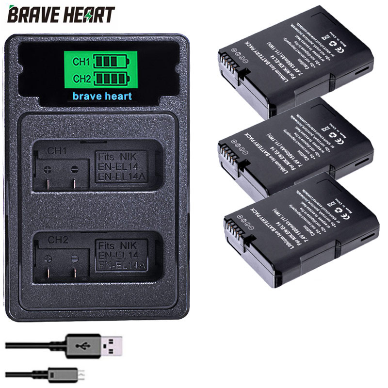 Аккумулятор 3x bateria EN-EL14 ENEL14a EN EL14 14a enel14 + двойное зарядное устройство для nikon d5300 d5200 d5100 d3100 d3200 P7000 D3300