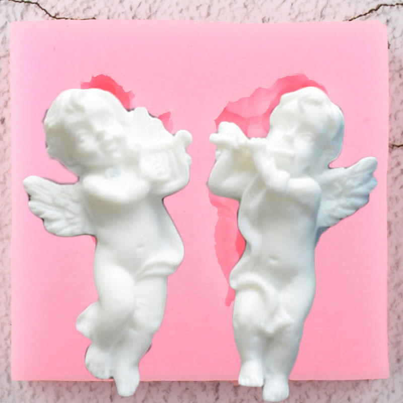 Moldes de silicona de bebé con forma de Ángel musical en 3D, adornos para magdalenas, utensilios para decoración de tortas con Fondant, moldes de pasta de azúcar y arcilla de caramelo