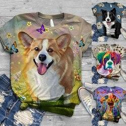 2020 novo tshirt feminino plus size manga curta 3d pet cachorro impressão o-pescoço topos camiseta topo das mulheres ropa mujer t camisa poleras