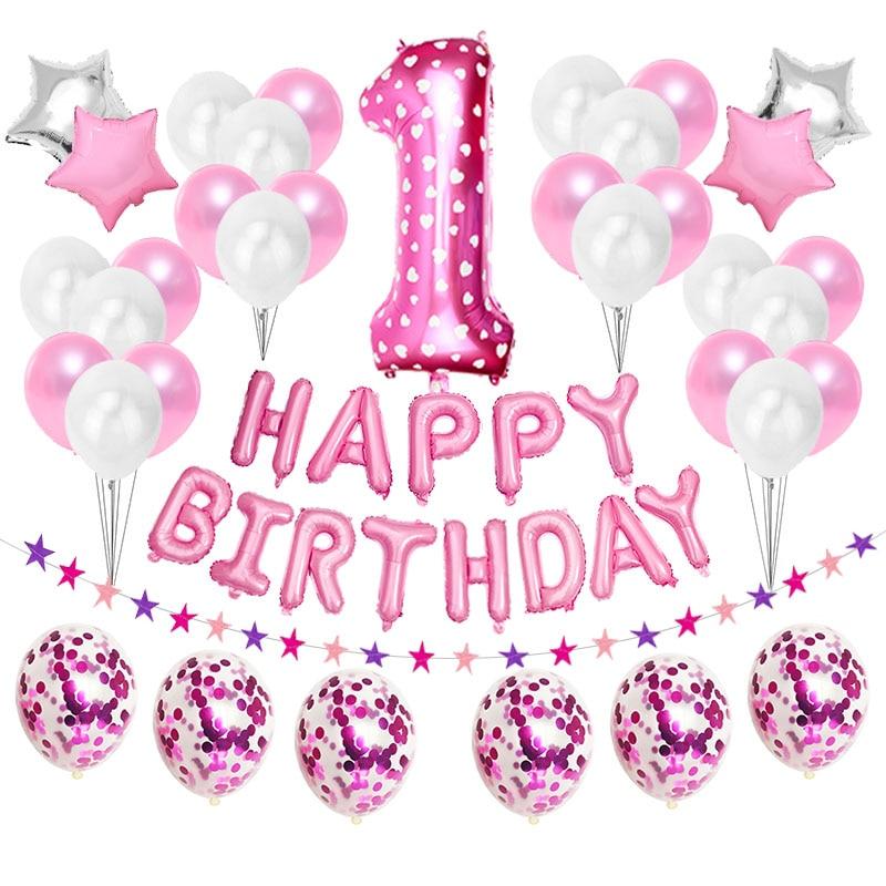 Primer cumpleaños, globo rosa, decoración de fiesta, guirnalda de estrellas, guirnalda para bebé, niño, niña, My 1ª, 1 año, suministros de confeti
