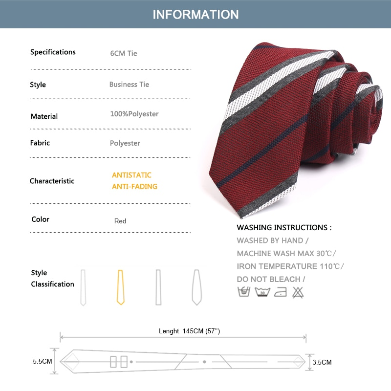 2020 New Mens 6CM Red Striped Ties High Quality Fashion Formal Neck Tie For Men Business Suit Work Necktie Gift Box