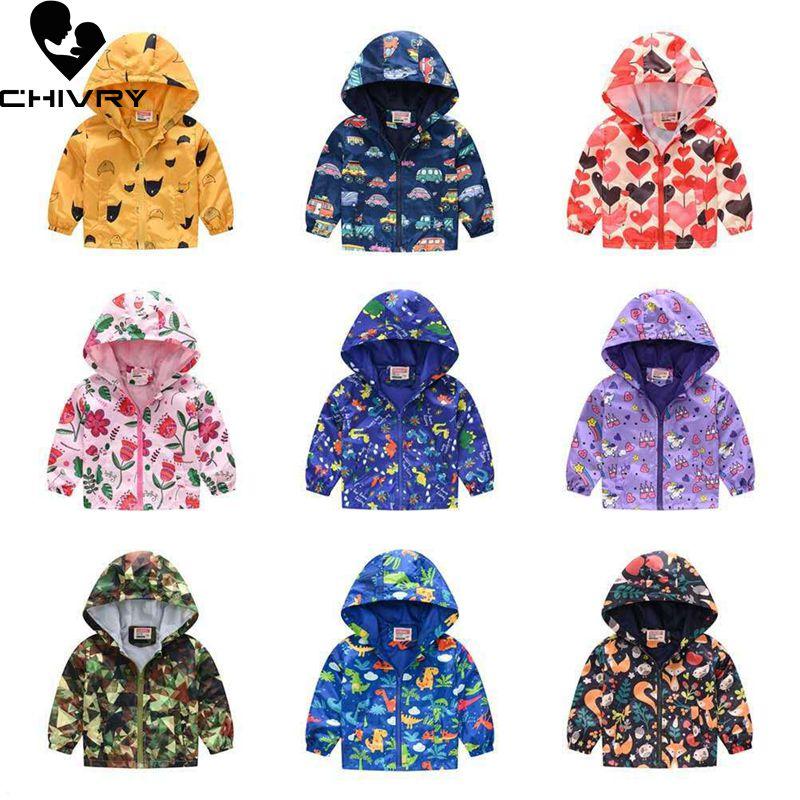 2020 Kids Clothes Boys Jackets Children Hooded Zipper Windbreaker Baby Fashion Print Coat Infant Wat