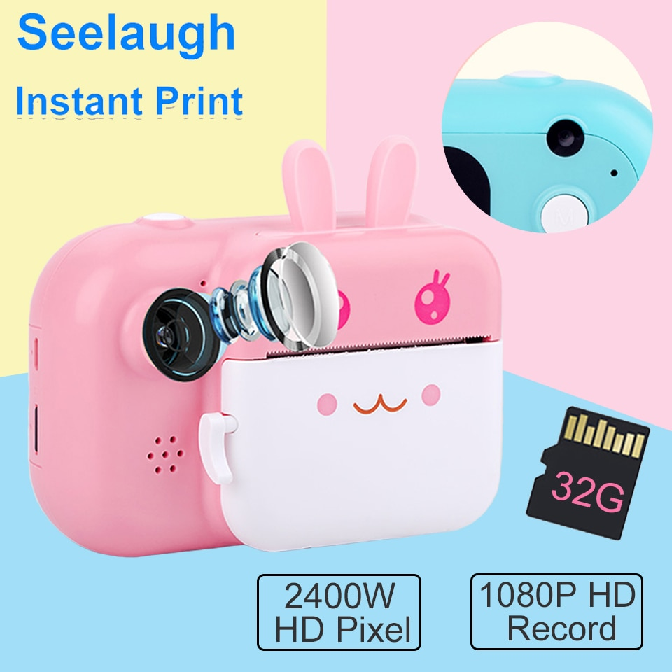 Seelaugh Kids Instant Camera For Children Print Camera 1080P Digital Camera With Thermal Photo Paper Toy Christmas Halloween Gif