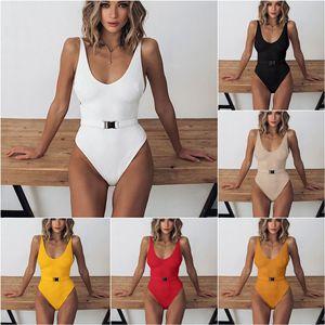 Цельный купальник, купальник с высоким вырезом, Женские однотонные купальные костюмы 2021, летняя пляжная одежда с поясом, сексуальное боди с открытой спиной