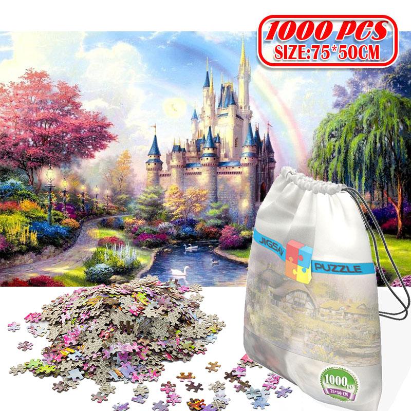 1000Pcs 3D Paper Jigsaw Puzzle for adults kids toys puzzles wooden Educational Toys Decoration Stickers Rainbow Castle