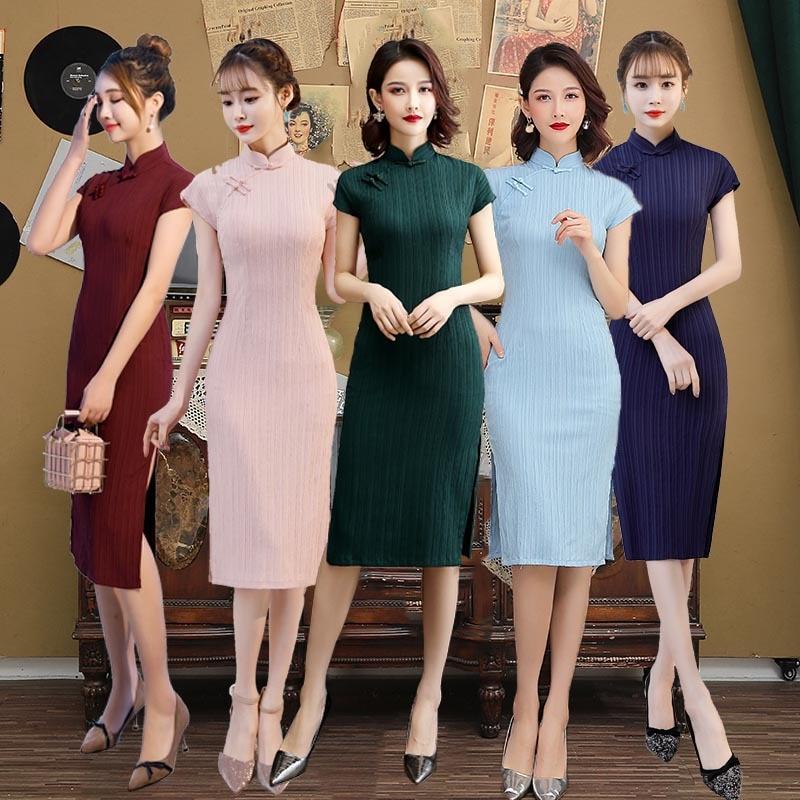Vestidos de estilo Oriental para mujer Qipao nuevo vestido hecho a mano Cheongsam antiguo tradicional chino