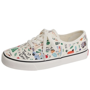 New White Women's Casual Canvas Sneakers Graffiti Printed Women Low Top Canvas Shoes Women Flat Vulcanized Shoes Espadrilles