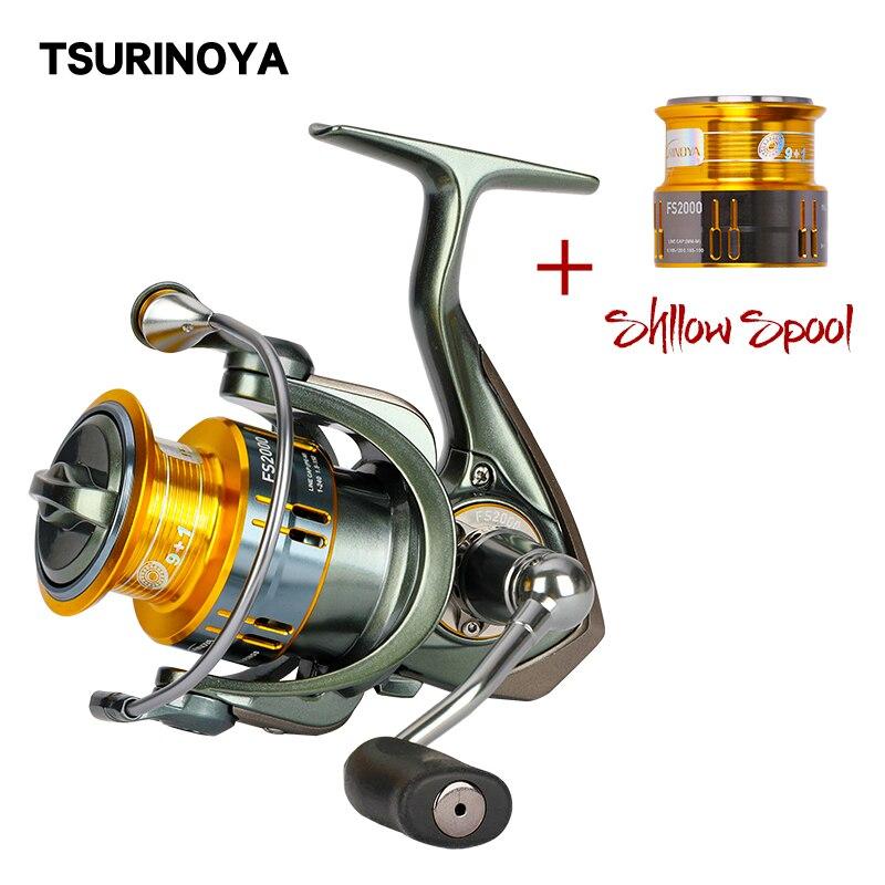 Carrete giratorio TSURINOYA FS2000 10BB 5,2 1 rueda giratoria con carrete de repuesto Molinete Para Pesca equipo de Pesca de carpa