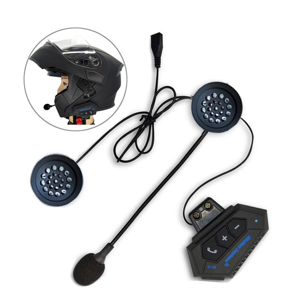 BT12 Motorcycle Bluetooth 4.2 Helmet intercom Wireless hands-free telephone call Kit Stereo Anti-interference Interphone Player
