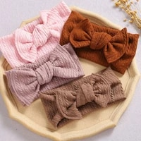 knitted twist wide headband solid color bow headband elastic turban hairband knitted striped fabric children hair accessories