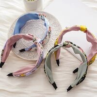 middle cross knotted head hoop double layers floral wide side hair hoop women girls hair accessories flower print headband