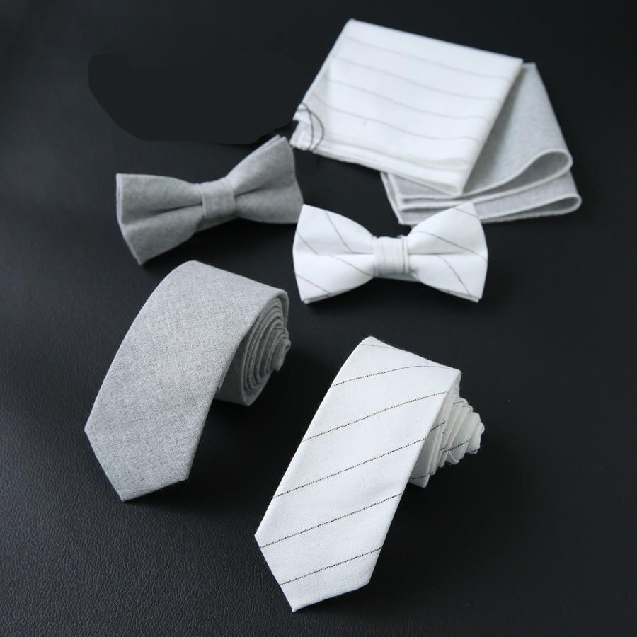 2020 Mens Bowties+Neckties+Pocket Square Set for Man Business Striped Cotton Neck Tie Handkerchief Set Custom LOGO