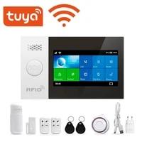 Tuya     systeme dalarme de securite domestique sans fil  wi-fi  GSM GPRS  anti-cambriolage  avec detecteur de mouvement et capteur  application Smart LIfe