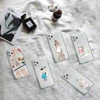 book girl cartoon coffee phone case transparent for iphone 7 8 11 12 se 2020 mini pro x xs xr max plus