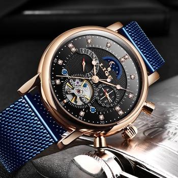 LIGE 2020 New Men's Luxury Fashion Brand Mechanical Automatic Tourbillon Watch Men Casual Sports Watches Relogio Masculino+Box