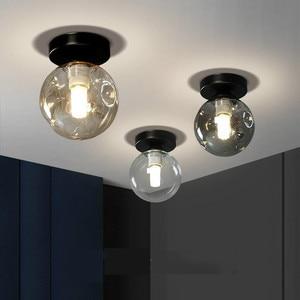 Потолочный светодиодный светильник Северной Европы, Современная индивидуальная креативная лампа, роскошный коридор, стеклянный шар, потолочный светильник