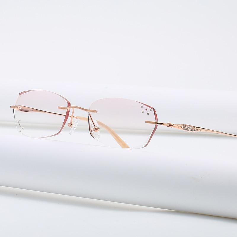 ZIROSAT 9142 Pure Titanium Rimless Diamond Cutting Glasses Frame Optical Prescription Eyeglasses Wom