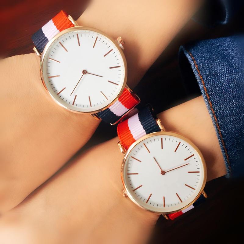 Luxury Fashion Casual Nylon Canvas Strap Ladies Men Couple Quartz Watch Female Clock Relojes Mujer M