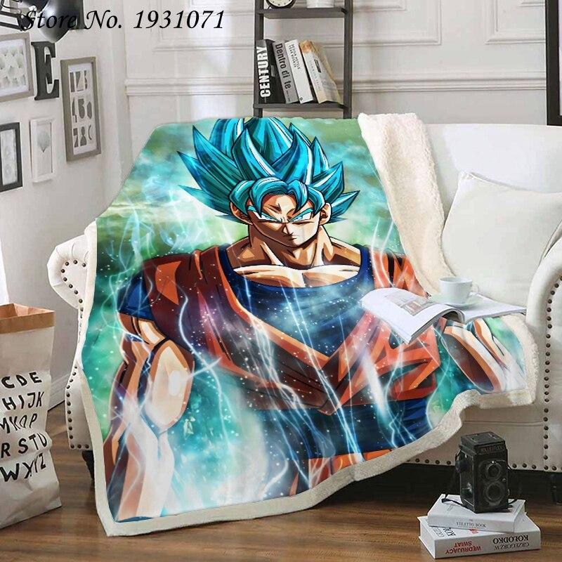 Populaire Anime Dragon Ball 3D couverture lits randonnée pique-nique épais couette à la mode couvre-lit polaire jeter couverture adultes enfants 03