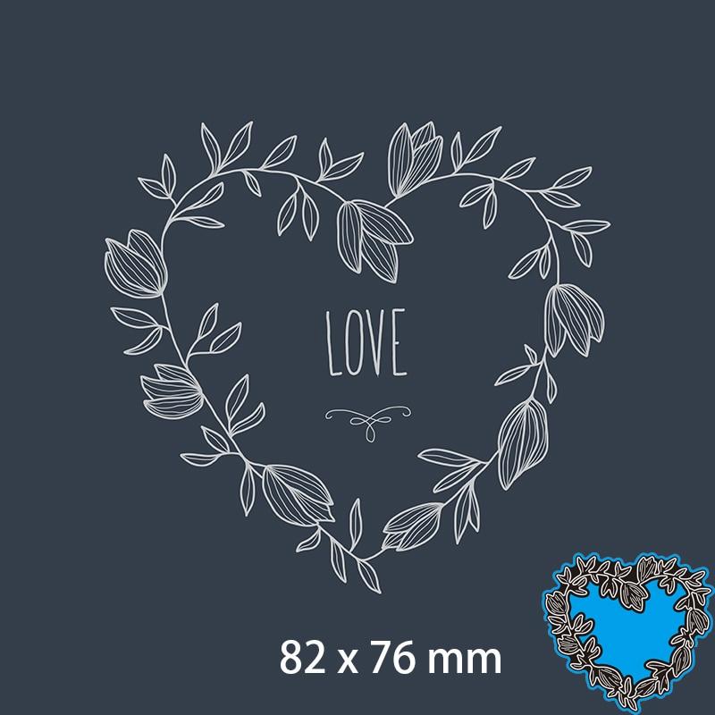 82*76mm Heart Leaves LOVE Metal Dies New Stencils DIY Scrap booking Paper Cards Craft Making Craft Decoration