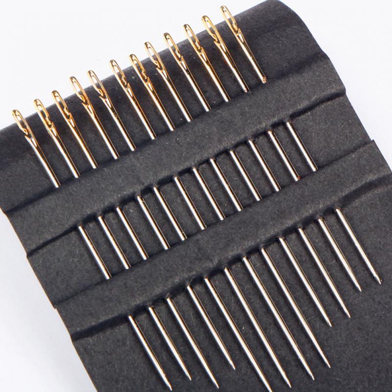 Agujas de 12 Uds. De cola de oro ciego Multi-tamaño fácil de pasar de lado herramienta de costura manual de bordado DIY agujas de costura