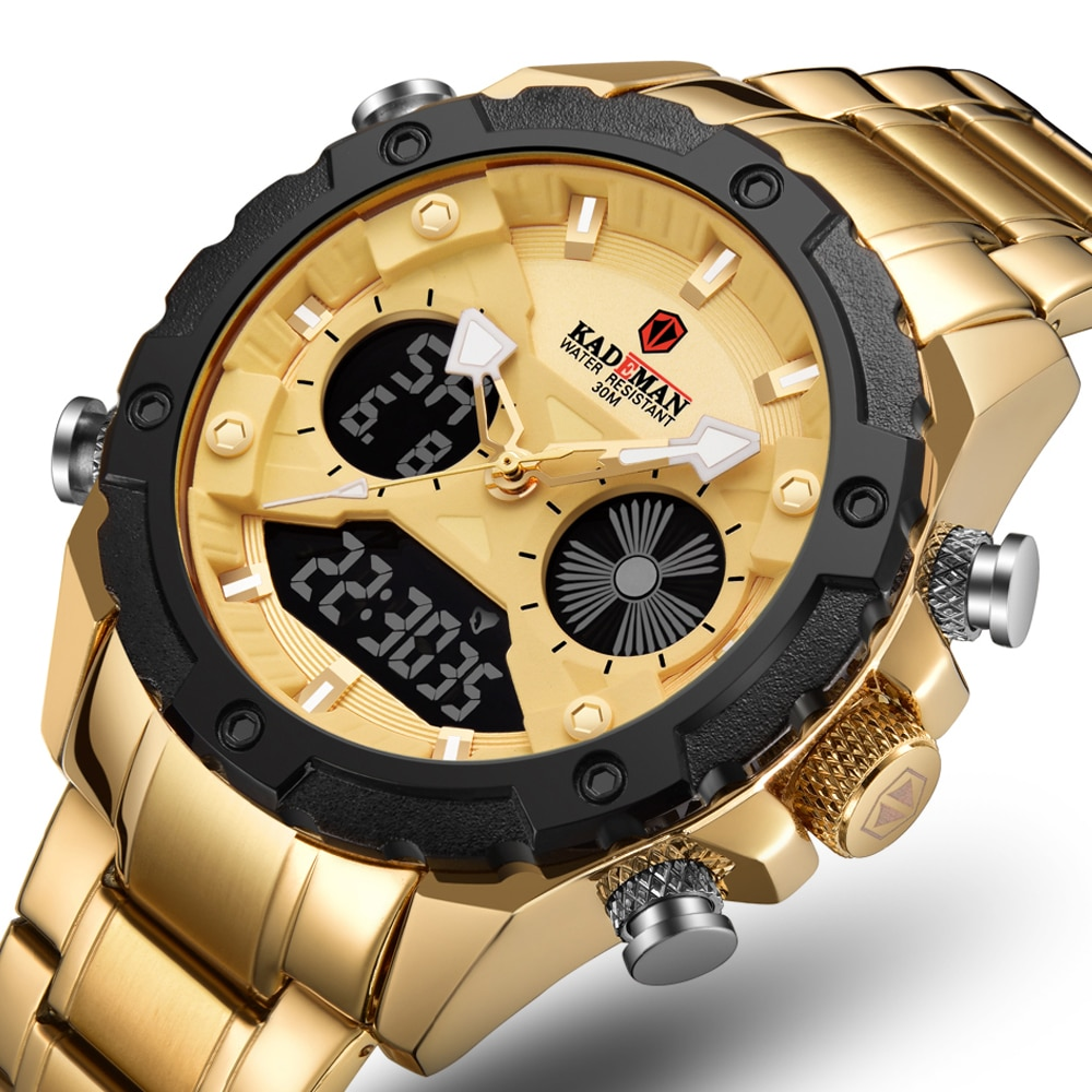 Gold Digital watch Men Military Sport Wrist Watch Quartz Steel Waterproof Dual Display Male Clock Wa