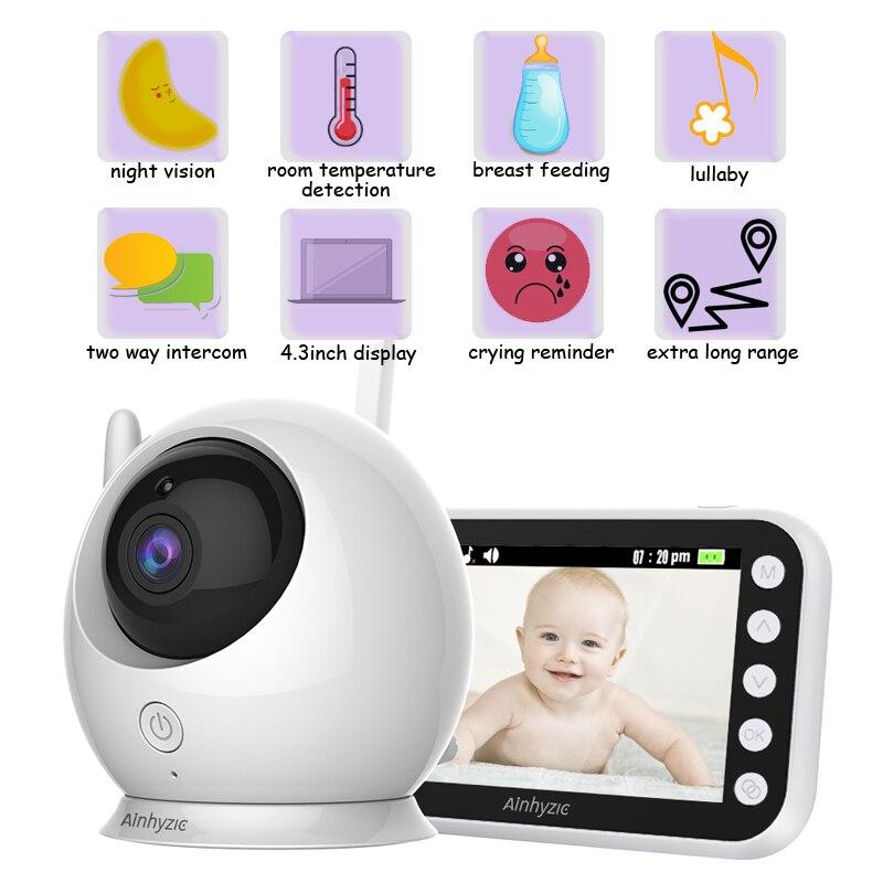 جهاز مراقبة الطفل بالفيديو اللاسلكي ، شاشة ملونة ، كاميرا مراقبة داخلية ، واي فاي ، جهاز أمان إلكتروني للأطفال ، بكاء ، تغذية الأطفال