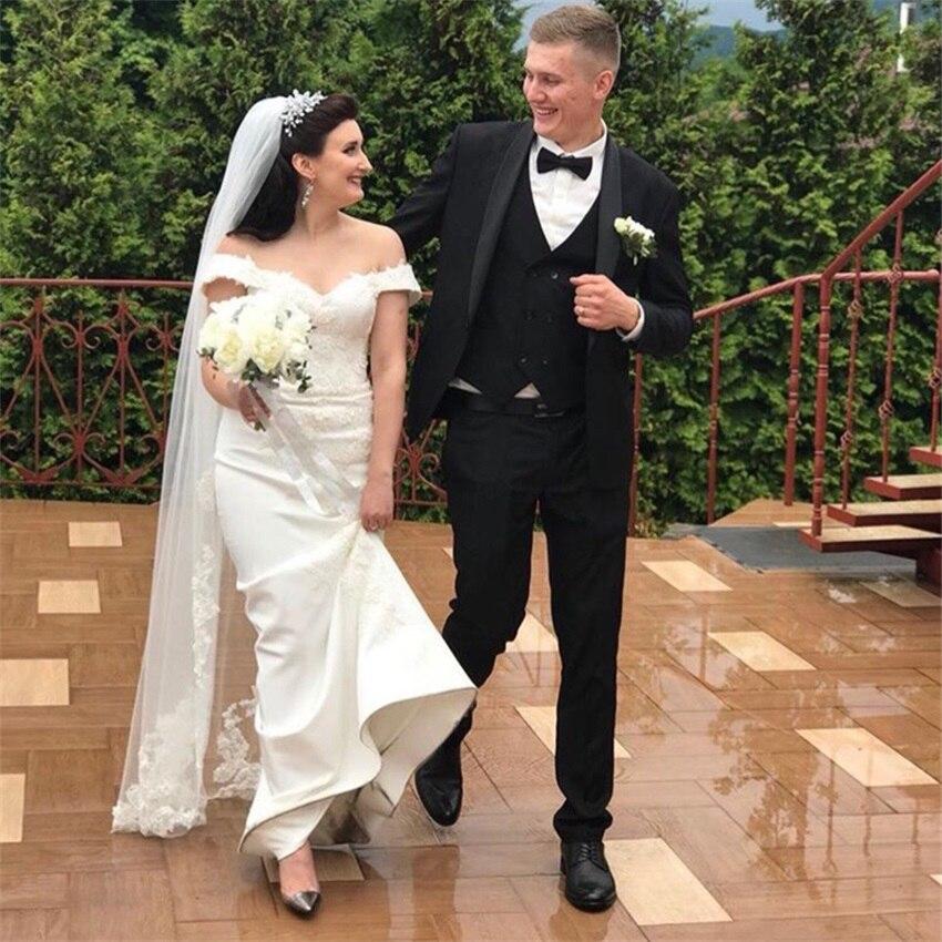فستان زفاف عاري الكتفين ساحر بأكمام قصيرة مزين فستان زفاف بتصميم حورية البحر لون أبيض عاجي مخصص