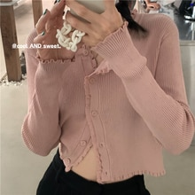 Pink Girl Sweater Cardigan Wooden Ear Pink Knitted Bandage Dress Top Small Coat Women's Short T-shir