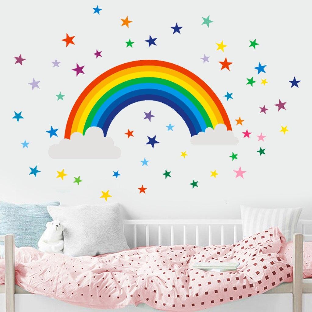 2019 nueva fiesta de dibujos animados bonita decoración para el hogar estrella arcoíris signo niños habitación pegatina dormitorio vinilo arte Mural al por mayor