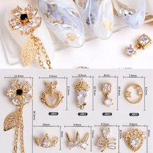 5 pièces fleur lune cristal Zircon pendentif Nail Art strass métal manucure ongles accessoires bricolage ongles décorations ongles breloques