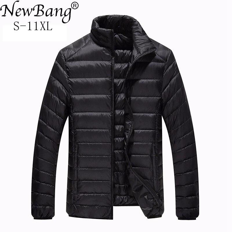 NewBang Plus 10XL 11XL جاكت مضلع خفيف الوزن للرجال معطف رجالي سفلي دافئ محمول سترة واقية ريشة سترة