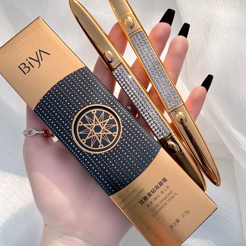 Biya 2head Eyebrow Pencil Waterproof Sweatproof for Eyebrows Cosmetic Eye Brow Enhancer Brown Tattoo Pen Easy To Wear with Brush