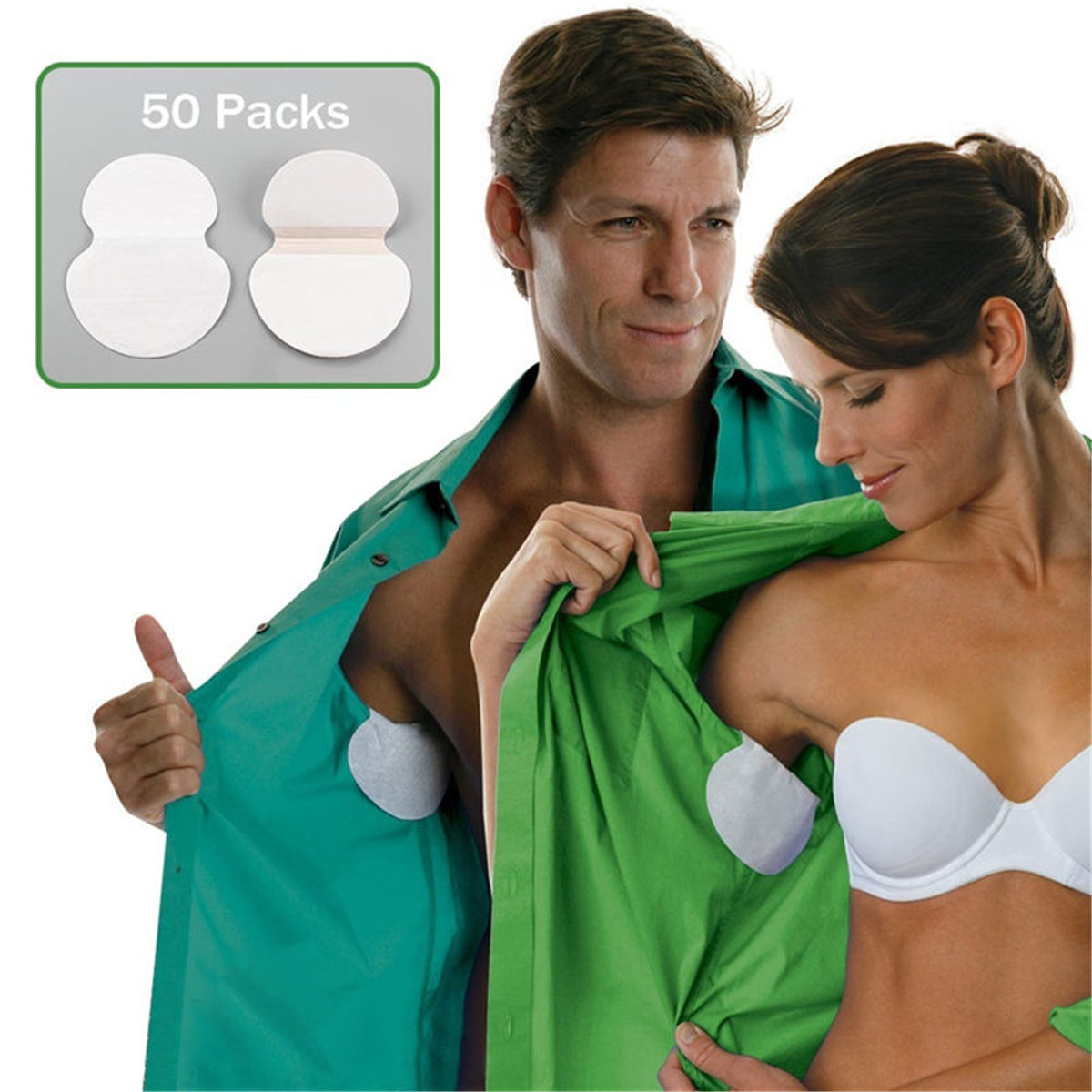 50Packs Summer Disposable Underarm Armpit Sweat Pads Absorbing Anti Perspiration